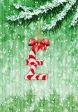 Martele assinam dentro a forma dos doces na árvore de Natal ilustração royalty free