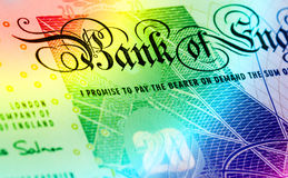 Martele o fundo da moeda - 20 libras - arco-íris Fotografia de Stock Royalty Free