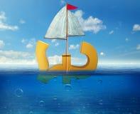Martelez couler dans le symbole de mer des ralentissements de l'activité économique de future d'économie récession BRITANNIQUE de illustration stock