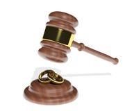 Martelletto che scende sugli anelli di cerimonia nuziale Immagine Stock Libera da Diritti