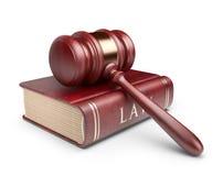 Martelletto con il libro. Concetto di LEGGE. icona 3D Fotografia Stock Libera da Diritti