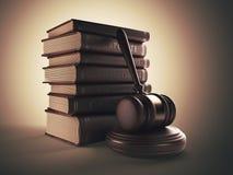 Martelletto con il libro. Concetto di LEGGE. illustrazione 3D Fotografia Stock