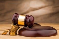 Martelletto del giudice con il primo piano dei soldi Fotografie Stock Libere da Diritti