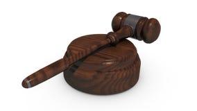 Martelletto del ` s del giudice e fondo bianco Immagini Stock Libere da Diritti