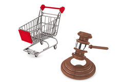 Martelletto della giustizia con il carrello di acquisto Fotografia Stock Libera da Diritti