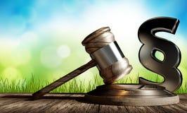 Martelletto di legge del giudice con il paragrafo 3d-illustration Fotografie Stock