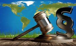 Martelletto di legge del giudice con il paragrafo 3d-illustration Elementi di questo Illustrazione Vettoriale