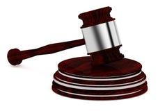 Martelletto di legno - giudice - icona di concetto di legge - isolata sulla parte posteriore di bianco Immagine Stock