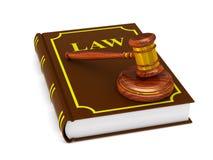 Martelletto e libro di legno su fondo bianco Illustrat isolato 3D Fotografia Stock Libera da Diritti
