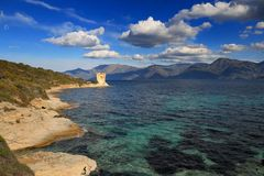 Martello塔,圣Florent,可西嘉岛 免版税库存图片