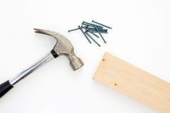 Martello, chiodi e legno Immagini Stock Libere da Diritti