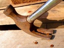 Martello da carpentiere nell'azione Immagine Stock Libera da Diritti
