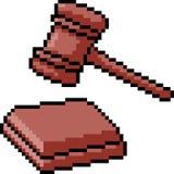 Martello del giudice di arte del pixel di vettore illustrazione di stock