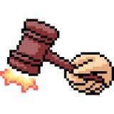 Martello del giudice di arte del pixel di vettore illustrazione vettoriale