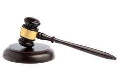 Martello del giudice isolato su bianco Fotografia Stock Libera da Diritti