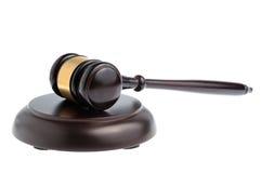 Martello del giudice isolato su bianco Fotografie Stock Libere da Diritti