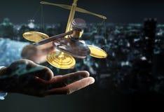 Martello dell'uomo d'affari giustamente e rappresentazione delle bilance 3D Immagini Stock