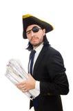 Martello della tenuta dell'uomo d'affari del pirata isolato su bianco Fotografie Stock Libere da Diritti
