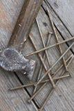 Martello e chiodi Fotografia Stock Libera da Diritti