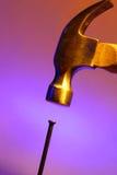 Martello e chiodo Fotografia Stock Libera da Diritti