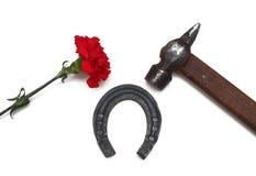 Martello, ferro di cavallo e chiodi di garofano Fotografie Stock