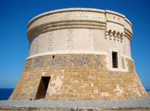 Martello Kontrollturm in Fornells, Menorca Stockfotografie