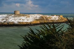 Martello tower. Dalkey island. Dublin. Ireland. Offshore island with the ruins of an old church and a martello tower. county Dublin. Ireland Royalty Free Stock Photography