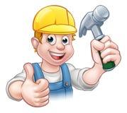 Martelo de Cartoon Character Holding do carpinteiro do trabalhador manual Imagens de Stock