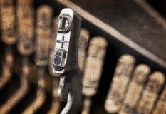 Martelo de D - máquina de escrever manual velha - filtro morno Foto de Stock