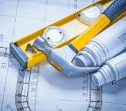 Martelo de garra da construção e rolos nivelados dos modelos maintenan Imagens de Stock Royalty Free