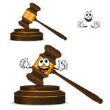 Martelo de madeira isolado desenhos animados do divertimento Imagens de Stock Royalty Free