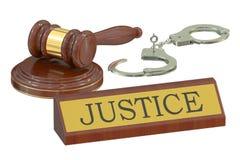 Martelo e algemas de madeira, conceito de justiça rendição 3d Fotografia de Stock