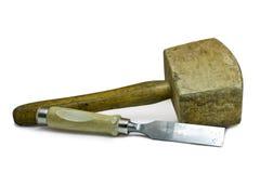 Martelo e formão de madeira Foto de Stock Royalty Free