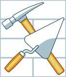 Martelo e pá de pedreiro do cruzamento ilustração stock