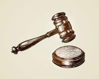 Martelo, martelo do juiz ou leiloeiro Ilustração do vetor do esboço Imagem de Stock