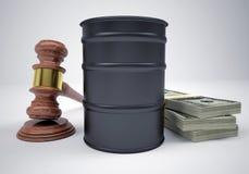 Martelo, punhados dinheiro e barril de petróleo Imagens de Stock