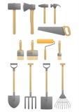 Martelos do machado do conjunto de ferramentas da escova da pá Fotos de Stock