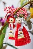 Bulgaren Martenitsa fjädrar undertecknar Royaltyfria Foton