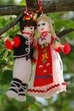 Martenitsa - symbole bulgare traditionnel de ressort de accueil Photos stock