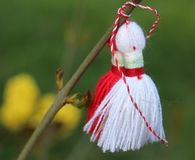 Martenitsa tied to a blossoming tree. Martenitsa - red and white dolls tied to budding tree. Bulgarian tradition-symbol of approaching spring Stock Images