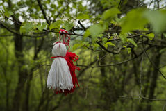 Martenitsa. Tied to a freshly green branch in spring Stock Images
