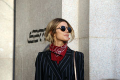 Martha graeff Milano,milan fashion week streetstyle autumn winter 2015 2016 Royalty Free Stock Image