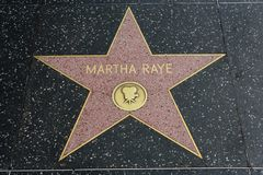 Martha Raye star on the Hollywood Walk of Fame. HOLLYWOOD, CA - DECEMBER 06: Martha Raye`s star has been replaced after vandalizing on the Hollywood Walk of Fame Stock Photo