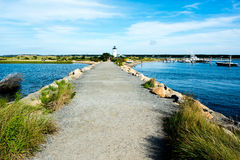 Martha`s Vineyard. MA-September 2, 2016: Scenic view of `s Edgartown Harbor Light. The 2010 census shows that 16,535 residents call  home Stock Photos