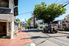 Martha`s Vineyard. MA-September 2, 2016: Street scene in . The 2010 census shows that 16,535 residents call  home Royalty Free Stock Photography