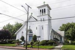 Martha`s Vineyard, Massachusetts. Saint Elizabeth Catholic Parish, a small church in the town of Edgartown in the island of Massachusetts, part of The Good Stock Photo