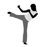 Martial art. Girls silueta in vector Royalty Free Stock Image