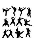 Martial Art Action Silhouettes. Art vector design Stock Photography