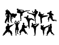 Martial Art Activity Silhouettes royalty free stock photography