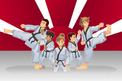 Martial Art Banner. A vector illustration of martial art banner with kids practicing karate Stock Photography